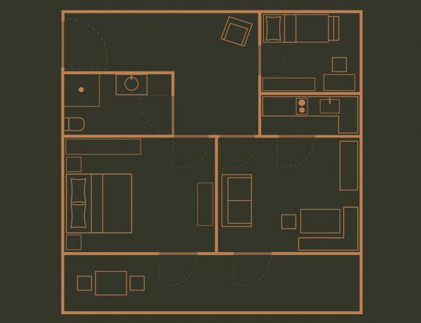 Appartement 2 Zimmerskizze