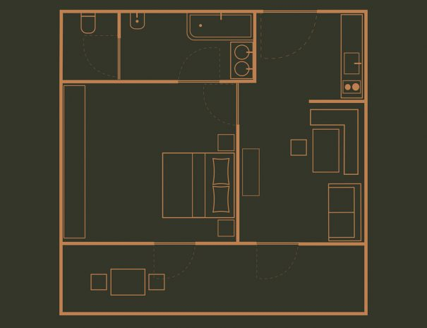 Appartement 3 Zimmerskizze