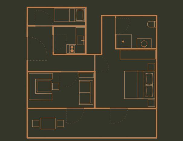 Appartement 4 Zimmerskizze