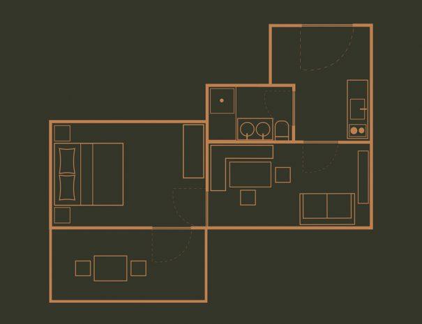 Appartement 5 Zimmerskizze